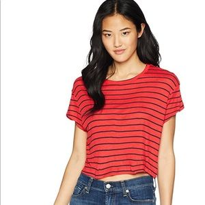 Splendid NWT Striped Cropped Top Color in Red